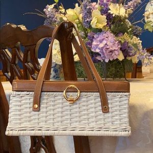 Kate Spade White Wicker & Brown Leather Bag